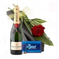 Red Rose, Moet and Chocolates