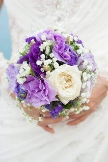 Violet, Purple, and White Rose Bouquet