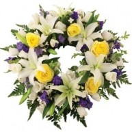 Wreath With White & Purple Tones