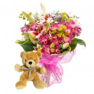 Flowers For A Baby Girl With Free Teddy