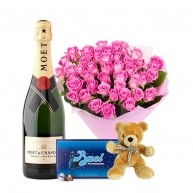 40 Pink Roses with Moet, Baci & Teddy