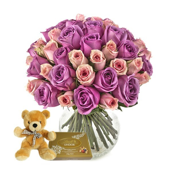 Pink and Purple Rose with Lindt & Teddy