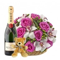 Pink Roses and Orchids with Moet & Teddy