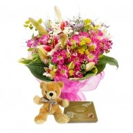 Mixed Flowers with Lindt & Teddy